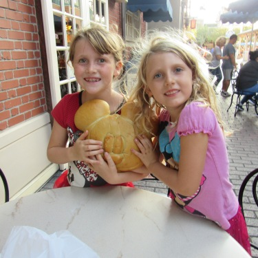 Me and my sister with Mickey bread